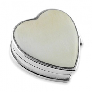 Mother of Pearl Heart Hallmarked Sterling Silver Pill Box