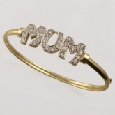 Mum 9ct Gold and Cubic Zirconia Set Bangle with Oak Box