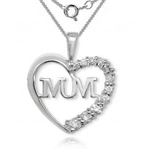 Mum Heart Shaped Cubic Zirconia Sterling Silver Necklace