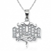 Mum Scroll & Heart Cubic Zirconia & Sterling Silver Necklace