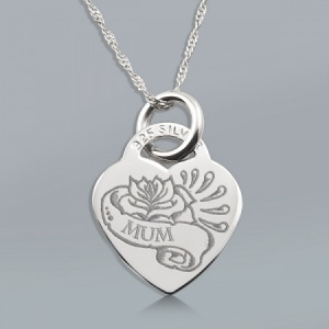 Rose and Scroll Mum (tattoo style) Heart Shaped Sterling Silver Necklace (can be personalised)