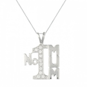 No 1 Mum Sterling Silver & Cubic Zirconia Necklace