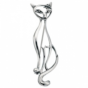 Open Cat Art Deco Sterling Silver Brooch