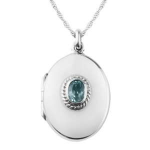 Blue Topaz Oval Sterling Silver Locket (can be personalised)