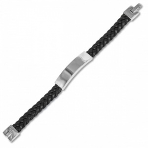 Mens Adjustable Plaited Black Leather & Stainless Steel ID Bracelet (can be personalised)