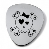 Heart Skull & Crossbones Plectrum-Pick-Necklace Personalised