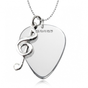 Metal Guitar Plectrum (Pick) Necklace with Music Note (can be personalised)