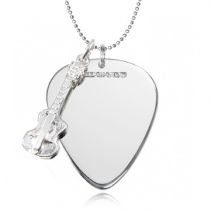 Metal Guitar Plectrum (Pick) Necklace with Guitar (can be personalised)