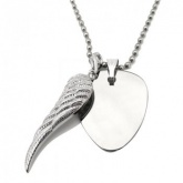 Metal Guitar Plectrum (Pick) Necklace with Wing Personalised