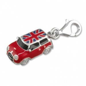 Mini Car, Red Enamel with Union Jack Roof & Sterling Silver Charm