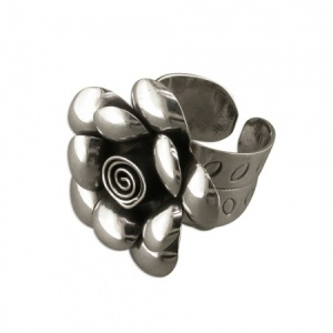 Adjustable Large Rose Ring Sterling Silver
