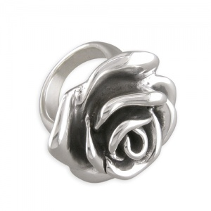 Large Rose Ring Sterling Silver