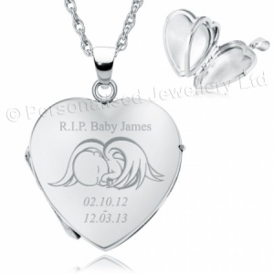 RIP Baby Heart Shaped Sterling Silver 4 Photo Locket (can be personalised)