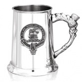 Scottish Clan Crest Pewter Tankard with Thistle Handle (160 clans available)