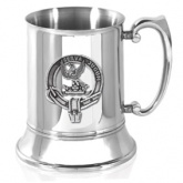 Scottish Clan Crest Stainless Steel Tankard with Pewter Badge (160 clans available)
