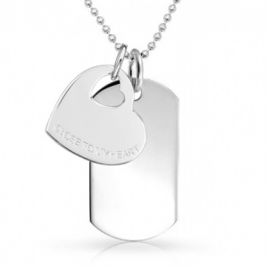 'Close to My Heart' Sterling Silver Heart & Dog Tag Necklace (can be personalised)