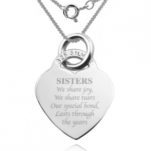 Sisters We Share Joy Heart Shaped Sterling Silver Necklace (can be personalised)
