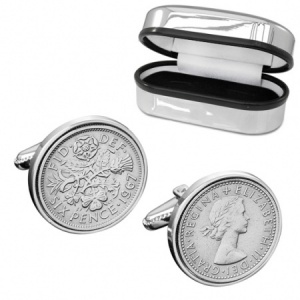 Real Sixpence Cufflinks 1925 -1967 with Chrome Box (can be personalised)
