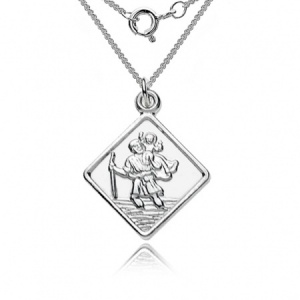 St Christopher Diamond Shaped Sterling Silver Necklace (can be personalised)