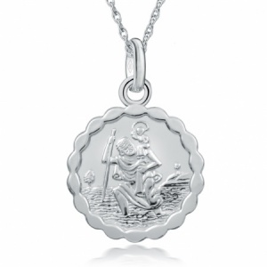 St Christopher Waved Edge Sterling Silver Necklace (can be personalised)
