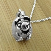 Heavy Weight Sterling Silver Startled Pig Necklace
