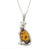 Amber Cat Sterling Silver Necklace