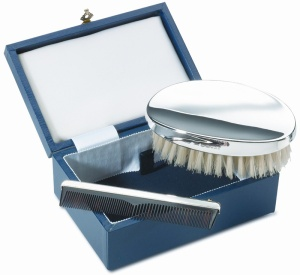 Mens Brush & Comb Set Hallmarked Sterling Silver (can be personalised)