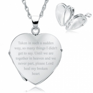 Sudden Loss Heart Shaped Sterling Silver 4 Photo Locket (can be personalised)