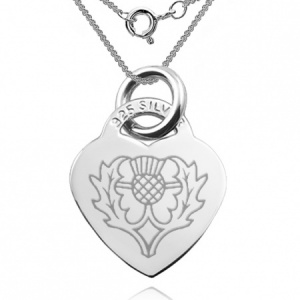 Heart Shaped Thistle, Heart Shaped Sterling Silver Necklace (can be personalised)