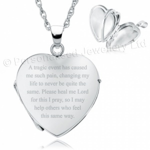 Tragic Event Heart Shaped Sterling Silver 4 Photo Locket (can be personalised)
