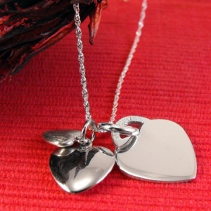 Triple Heart Sterling Silver Necklace (can be personalised)