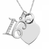 16th Birthday Necklace, Personalised, CZ & Sterling Silver