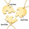 Three Person Sharing Necklace, Split Heart, with Personalised Engraving