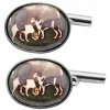 Hunting Dog Cufflinks, Colour Enamel & Sterling Silver (Engraving Available)