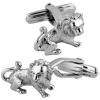 English Lion Cufflinks, Sterling Silver (Engraving Available)