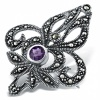 Antique Style Amethyst & Marcasite Brooch, Sterling Silver