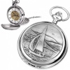 Sailing Boat Pewter Mechanical Skeleton Pocket Watch (can be personalised)
