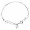 Childrens ID Bracelet with Heart Charm, Real Diamond & Silver