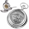 The Flying Scotsman Train Pewter Mechanical Skeleton Pocket Watch (can be personalised)