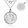 Libra, Zodiac Necklace, Sterling Silver, Personalised