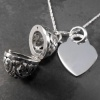 Pomander & Heart Solid 925 Silver Pendant/Necklace Personalised