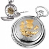 Scottish Thistle Pewter & Gold Plated Mechanical Skeleton Pocket Watch (can be personalised)