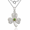Shamrock Necklace with Green Stone, Sterling Silver