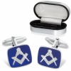 Masonic Square Sterling Silver & Enamel Cufflinks (can be personalised)
