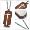 Men's Rosewood Cross Necklace Dog Tag, Personalised