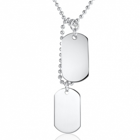 Classic Double Off Set Dog Tags Sterling Silver Necklace (can be personalised)