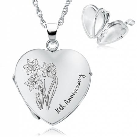 10th Anniversary Daffodil Locket, Personalised, Sterling Silver, Ladies, 4 Photo