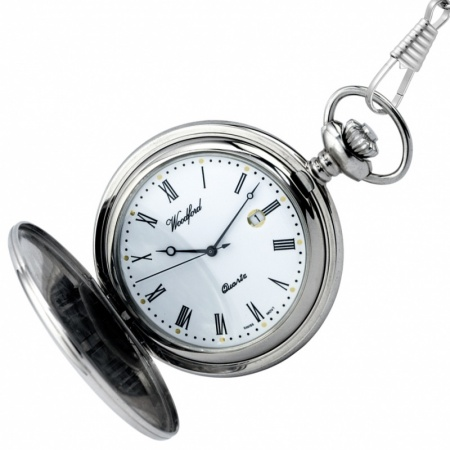 Woodford Full Hunter Pocket Watch, Chrome Plated (can be personalised)