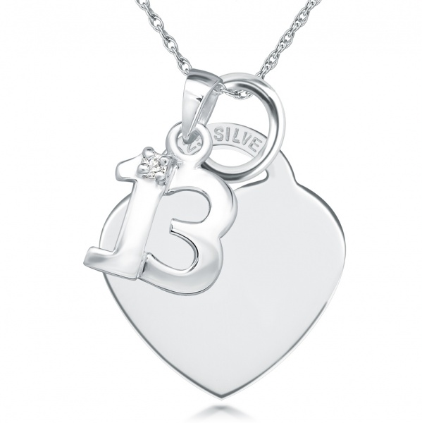 13th Birthday Necklace, Personalised, Sterling Silver, Number 13 & Heart