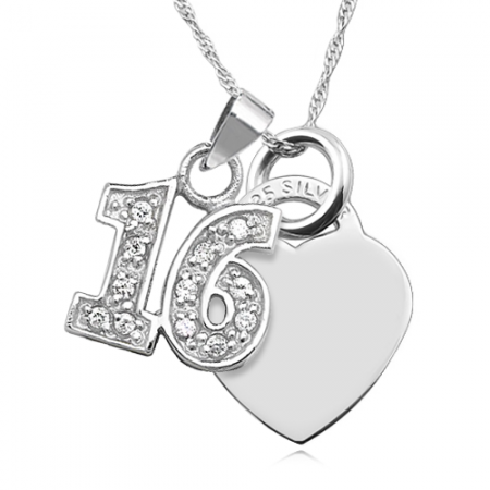 16th Birthday Heart & Cubic Zirconia Number 16 Sterling Silver Necklace (can be personalised)